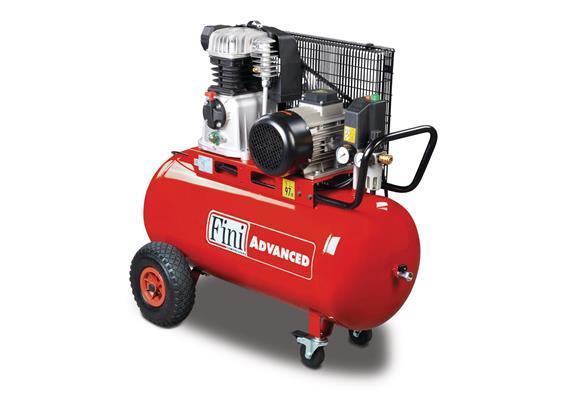 Kolbenkompressor mit Keilriemenantrieb und 2-Zylinder-Hochleistungsaggregat aus Grauguss