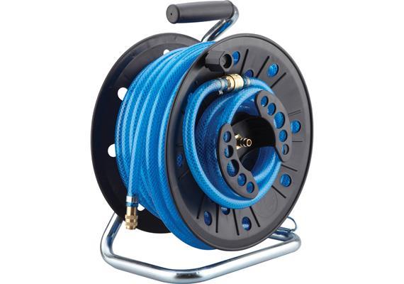 Schlauchtrommel Druckluft 20 m Schlauch inkl. 1,5 m Anschlussschlauch und Adapterstecker